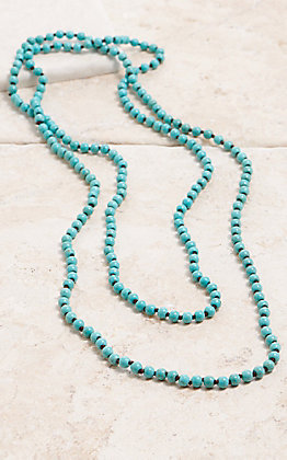 Turquoise Beaded Long Layering Knot Necklace