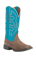 Nocona Children's Chocolate with Turquoise Upper Western Square Toe Boots