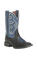 Nocona Children's Black Crocodile Print with Navy Upper Western Square Toe Boots