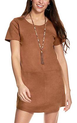 Newbury Kustom Women's Camel Faux Suede Short Sleeve Dress