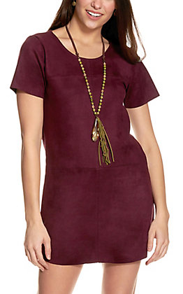 Newbury Kustom Women's Wine Faux Suede Short Sleeve Dress