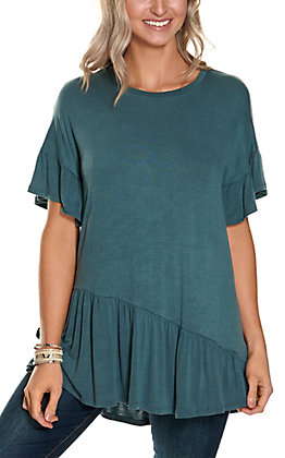Newbury Kustom Women's Teal Ruffle Bottom Short Sleeve Tunic Top