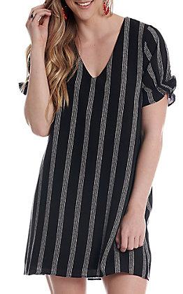 Newbury Kustom Women's Black Striped Short Sleeve Dress