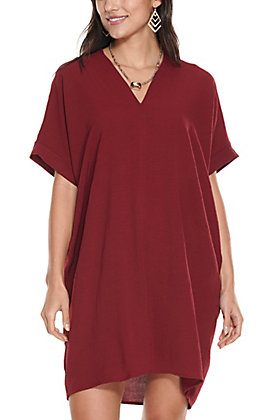 Newbury Kustom Women's Burgundy V-Neck Tunic Short Sleeve Dress