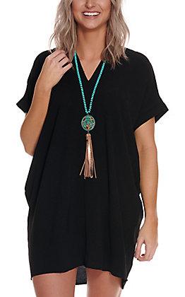 Newbury Kustom Women's Black V-Neck Tunic Short Sleeve Dress