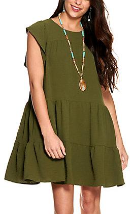 Newbury Kustom Women's Olive Tiered Short Ruffle Sleeves Dress