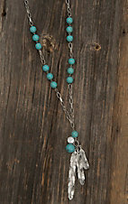 Wired Heart Silver and Turquoise Beaded with Feather Pendant Necklace