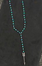 Wired Heart Turquoise and Silver Beaded with Arrow Pendant Necklace