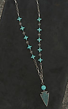 Wired Heart Silver with Turquoise Cross Beads and Arrow Pendant Necklace