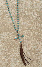 Wired Heart Turquoise and Bronze with Cross and Tassel Pendant Necklace