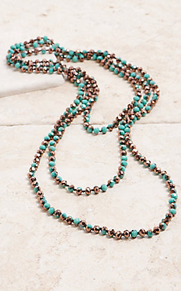 Crooked Fence Sparkle Turquoise and Gold 90 in. Necklace