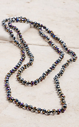 Crooked Fence Sparkle Metallic Black 60 in. Necklace