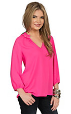 Karlie Women's Fuchsia Ruffle V Neck Top