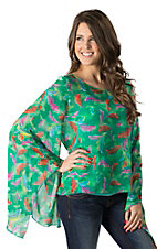 Karlie Women's Jade with Multicolor Feather Print Chiffon Long Sleeve Top