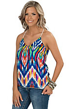 Karlie Women's Blue Multicolor Abstract Print Racer Back Camisole