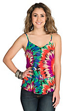 Karlie Women's Magenta Abstract Floral Tiered Sleeveless Fashion Top