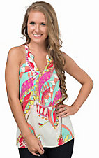 Karlie Women's Coral Multicolor Bold Abstract T-Back Halter Top