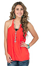 Karlie Women's Solid Orange T-Back Halter Top