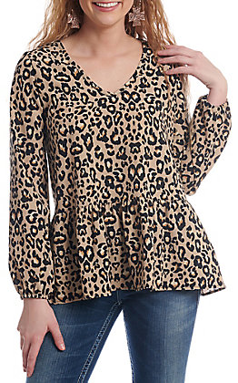 Newbury Kustom Women's Leopard Print Long Sleeve Fashion Top