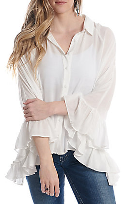 Newbury Kustom Women's Ivory Ruffle Poncho Style Button Down Fashion Top