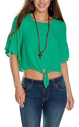 Newbury Kustom Women's Green Tie Front 3/4 Sleeves Fashion Top