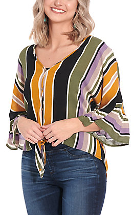 Newbury Kustom Women's Olive, Mustard and Purple Stripe Tie Front 3/4 Sleeve Fashion Top