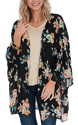 Newbury Kustom Women's Black Floral Kimono