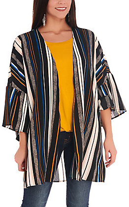 Newbury Kustom Women's Black with Stripes Ruffle Sleeves Kimono