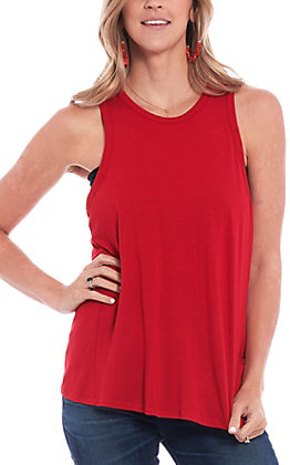Newbuy Kustom Women's Solid Red Open Back Tank Top