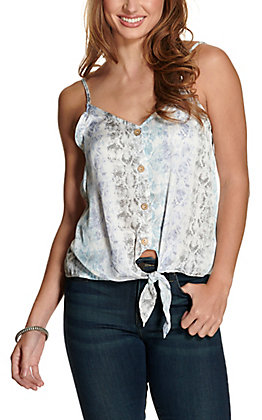 Newbury Kustom Women's White with Blue & Grey Snake Print Tie Front Tank Fashion Top