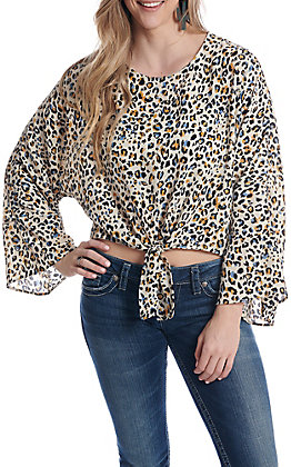 Newbury Kustom Women's Leopard Print Tie Front Long Sleeve Fashion Top