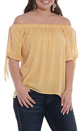 Newbury Kustom Women's Mustard And Ivory Striped Off The Shoulder Fashion Top