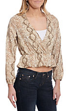 Newburry Kustom Women's Snake Print Long Sleeve Crop Top