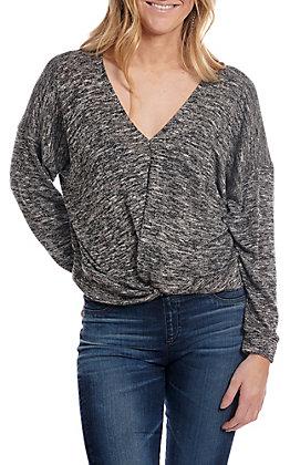 Newbury Kustom Women's Charcoal Knot Front Long Sleeve Fashion Top