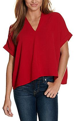 Newbury Kustom Women's Red V-Neck Short Sleeve Fashion Top