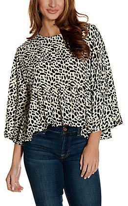 Newbury Kustom Women's Leopard Print Long Dolman Sleeves Peplum Fashion Top