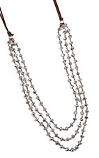 Three Strand Clear Beaded Leather Necklace