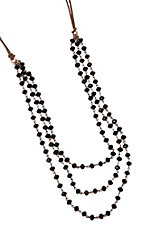 Three Strand Black and Brown Beaded Leather Necklace