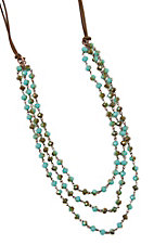 Three Strand Turquoise and Brown Beaded Leather Necklace