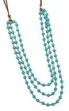 Three Strand Turquoise Marbled Beaded Leather Necklace