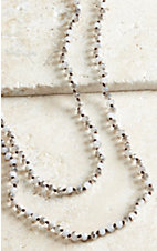 Brown Sparkle Beaded Long Layering Knot Necklace