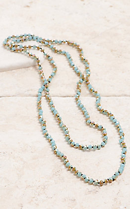 Turquoise Sparkle Beaded Long Layering Knot Necklace