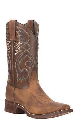 Nocona Women's HERO Tan and Brown Square Toe Western Boots