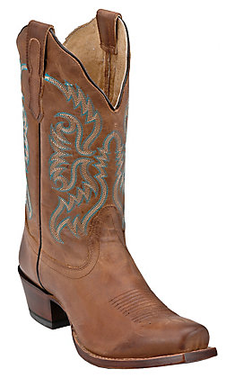 Nocona Women's Burnished Brown Cowhide Half Moon Toe Western Boots