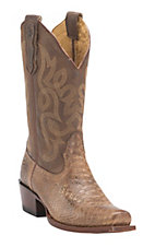 Nocona Women's Tan Rattle Snake Print Punchy Square Toe Western Boots