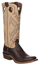 Nocona Boots Women's Buckaroo Dark Brown with Sand Sport Mesh Cowhide Western Square Cutter Toe Boots