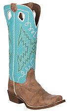 Nocona Boots Women's Buckaroo Tan/Brown Tejas Cowhide with Turquoise Sport Mesh Cowhide Western Square Cutter Toe Boots