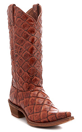 Nocona Women's Cognac Pirarucu Fish Print Snip Toe Western Boots