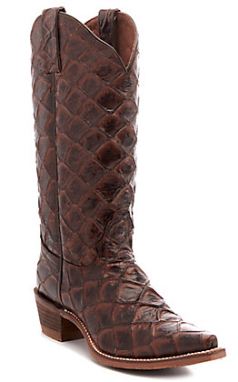 Nocona Women's Chocolate Pirarucu Fish Print Snip Toe Western Boots