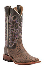 Nocona Women's Vintage Brown Ostrich Print Square Toe Western Boots